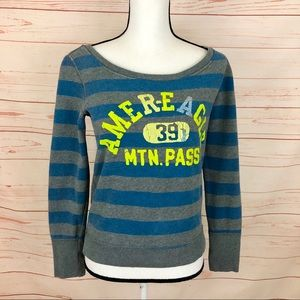 American Eagle Striped Graphic Sweatshirt Top